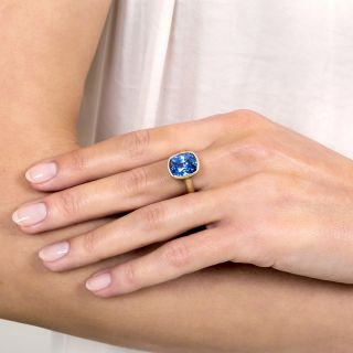 Lang Collection 7.45 Carat No-Heat Ceylon Sapphire Solitaire Ring