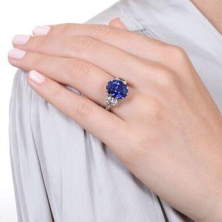 Lang Collection 8.62 Carat Fine Ceylon Sapphire and Diamond Ring
