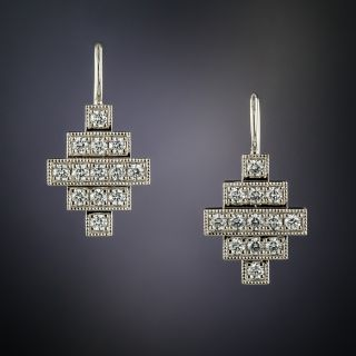 Lang Collection Platinum Deco Style Diamond Earrings - 2