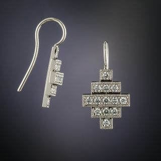 Lang Collection Platinum Deco Style Diamond Earrings