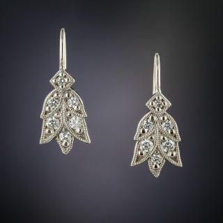 Lang Collection Platinum Laurel Diamond Earrings - 2