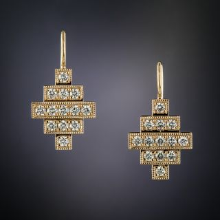 Lang Collection Rose Gold Deco Style Diamond Earrings - 2