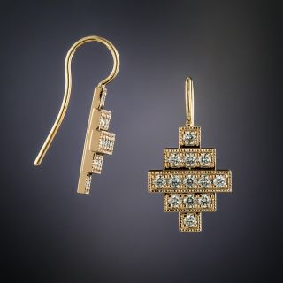 Lang Collection Rose Gold Deco Style Diamond Earrings