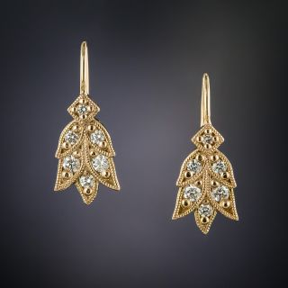 Lang Collection Rose Gold Laurel Diamond Earrings - 2