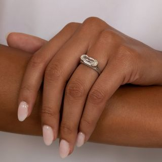 Lang Collection Unique 2.18 Carat Elongated Oval Diamond Ring - GIA J VS1