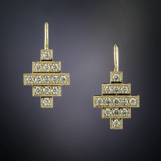 Lang Collection Yellow Gold Deco Style Diamond Earrings - 2