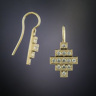 Lang Collection Yellow Gold Deco Style Diamond Earrings