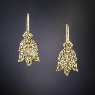 Lang Collection Yellow Gold Laurel Diamond Earrings - 2
