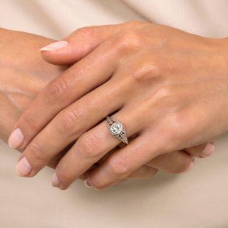 Art Deco .30 Carat Diamond Solitaire Engagement Ring