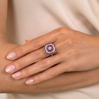Art Deco Style Octagonal Diamond and Calibre Ruby Ring
