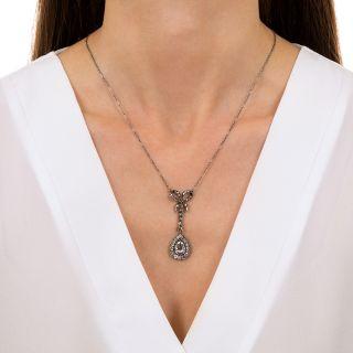Antique Pear Shape Diamond Lavalière Necklace