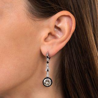 6.10 Carat Art Deco Diamond and Black Enamel Drop Earrings