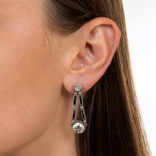 5.25 Carat Art Deco Diamond and Onyx Drop Earrings