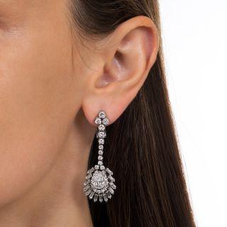 Platinum and Diamond Long Drop Earrings