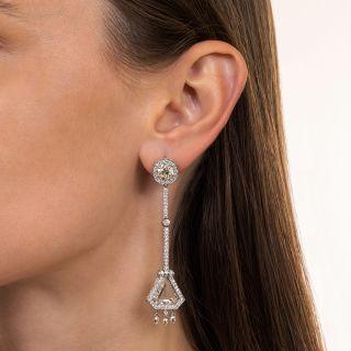 Long Shield-Shaped Diamond Platinum Earrings