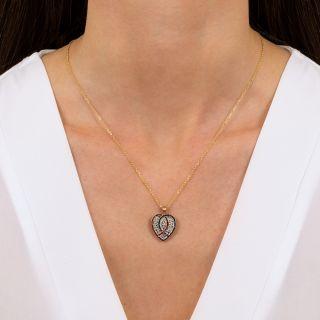 Edwardian Diamond, Ruby and Sapphire Heart Locket