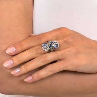 Art Deco Twin Cabochon Sapphire and Diamond Dinner Ring