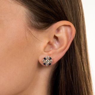 Estate Diamond and Sapphire Cluster Earrings
