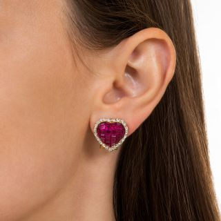 Invisibly Set Ruby and Diamond Heart Earrings