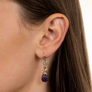 Victorian Carved Amethyst and Seed Pearl Dangle Earrings