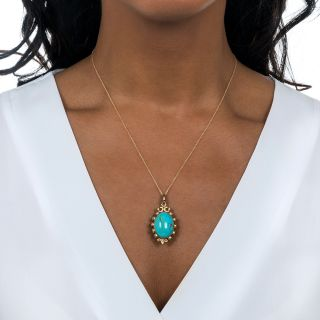 Vintage Double-Sided Turquoise Pendant