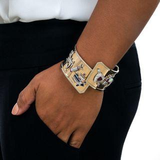 Art Deco Charm Bangle Bracelet