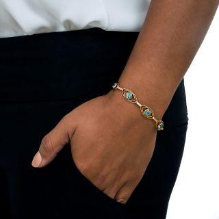 Vintage Blue Zircon Link Bracelet
