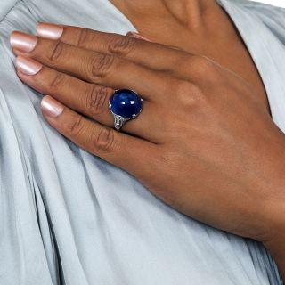 Art Deco 29 Carat Burmese No-Heat Cabochon Sapphire Diamond  Platinum Ring