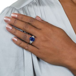 7.18 Carat No-Heat Cushion-Cut Sapphire Platinum and Diamond Ring