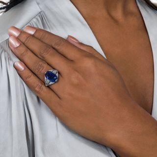 Art Deco 8.43 Carat Ceylon No Heat Sapphire Ring