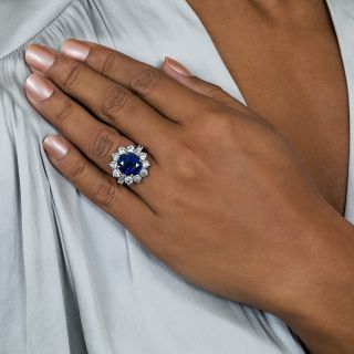 5.97 Carat Gem Australian Sapphire Platinum Diamond Ring