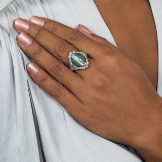 18.50 Carat Chrysoberyl Cat's-Eye Platinum Diamond Art Deco Ring