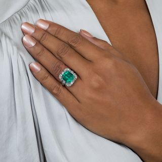 Estate 6.24 Carat Colombian Emerald and Diamond Ring