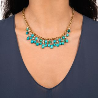 Vintage Turquoise and Pearl Necklace