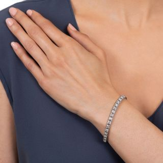 Art Deco Platinum Diamond Line Bracelet