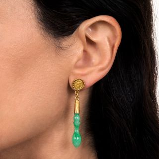 """Natural Jadeite Drops Earrings with """"Fu"""" Design"""