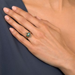 Victorian Diamond, Turquoise and Seed Pearl Ring