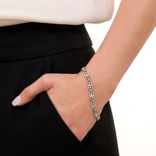 Art Deco Filigree Link Diamond  Bracelet