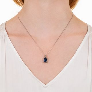 Estate 2.58 Carat Sapphire and Diamond Pendant Necklace
