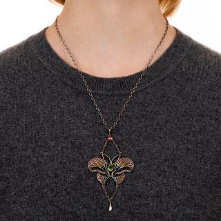 Art Nouveau Plique-a-Jour Pearl Butterfly Pendant Necklace