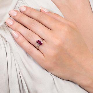 Estate Purplish Pink Sapphire and Diamond Ring