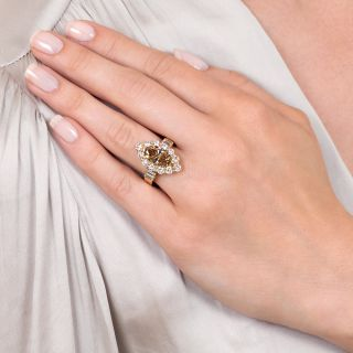 Estate 2.75 Carat Fancy Yellow-Brown Marquise-CutDiamond Engagement Ring - GIA