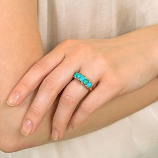 Late-Victorian Style Turquoise and Diamond Five Stone Ring