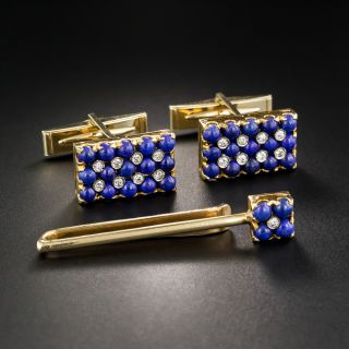Lapis And Diamond Cuff Links And Tie Bar by CD Peacock - 2