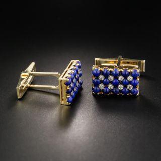 Lapis And Diamond Cuff Links And Tie Bar by CD Peacock