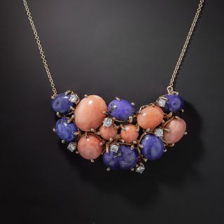 Lapis, Coral and Diamond Necklace - 1