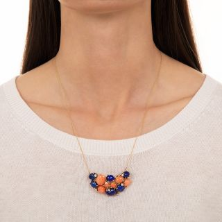 Lapis, Coral and Diamond Necklace