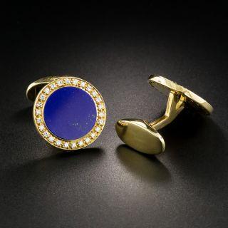 Lapis Lazuli Diamond Cuff Links