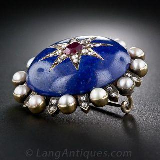 Lapis, Ruby, Pearl & Diamond Pin/Pendant