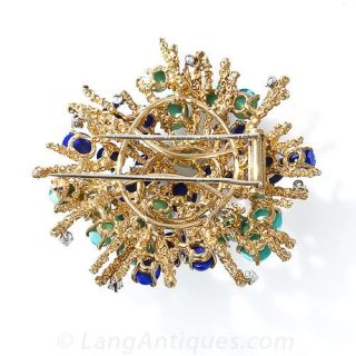 Lapis, Turquoise, and Diamond Brooch